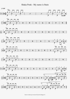 Shaka Ponk - My name is Stain Drum Sheet Music, Drums Sheet, Transcription, Music Score, My Name Is, Music Education, Names, Plein Air, Violin