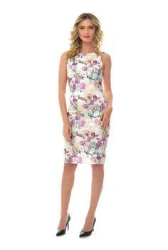 Rochie crem cu imprimeu floral RN157 -  Ama Fashion Dresses For Work, Floral, Fashion, Moda, Fashion Styles, Flowers, Fashion Illustrations, Flower