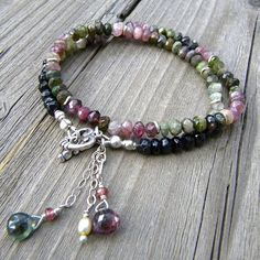 Faceted Watermelon Tourmaline Rondelle stones, Sterling Silver, Double Wrap Bracelet with Heart Toggle Clasp