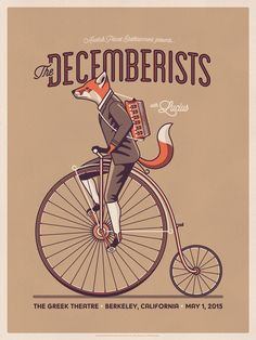 A fox in a suit riding a unicycle with an accordion. That's some imagination :)
