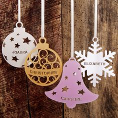 I've just found Personalised Christmas Tree Decoration. Our personalised acrylic Christmas decorations, in a range of stylish designs, will give your home a special twist this holiday season. Christmas Wood, Christmas Crafts, Xmas, Christmas Ornaments, Personalised Christmas Tree Decorations, Snowflake Decorations, Laser Cutter Ideas, Laser Cutter Projects, 3d Laser