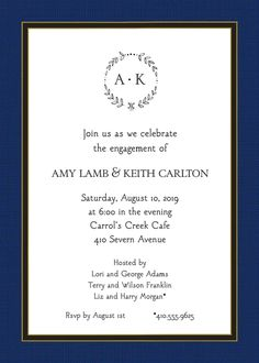 Linen Navy & Black Invitation designed by Sweet Pea Designs Invitation Design, Invitation Cards, Return Address Stickers, Engagement Party Invitations, Free Paper, Rsvp, Engagement Invitations