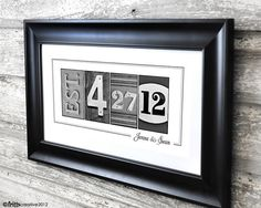 Wedding Date Print In Alphabet Photography 10x20 Unframed Frame Your Photo Numbers And Dates