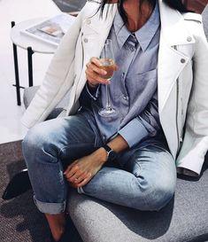 Jacket: tumblr white leather denim jeans blue jeans cuffed jeans shirt blue shirt black watch watch