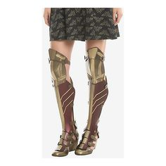 DC Comics Wonder Woman 3-Piece Wedge Boots ($108) ❤ liked on Polyvore featuring shoes, boots, gold high heel boots, wedge sole boots, cuff boots, fake boots and gold high heel shoes