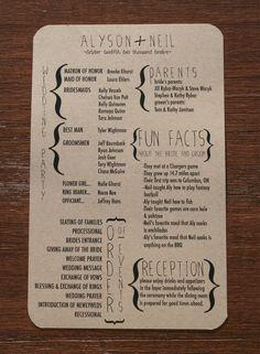 Diy Wedding Ceremony Programs Fun Facts 49 Ideas For 2019 Perfect Wedding, Our Wedding, Dream Wedding, Trendy Wedding, Wedding Tips, Spring Wedding, Wedding Order Of Events, Rustic Wedding, Wedding Stuff
