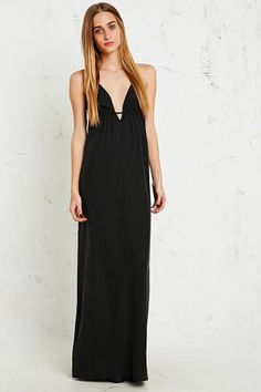 Silence + Noise Tri-Strap Maxi Dress in Black