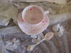 PINK ROSE TEA CUP spoon hp hand painted chic shabby vintage cottage decor #2