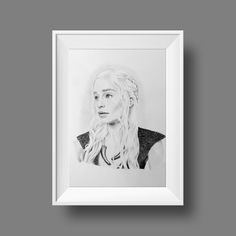 Daenerys Targaryen ORIGINAL ART, Game of Thrones beautiful fan art, got mother of dragons, Limited edition Fine Art, Emilia Clarke Photo To Pencil Sketch, Mother Of Dragons, Emilia Clarke, Handmade Art, Paper Texture, Original Artwork, Daenerys Targaryen, Art Pieces, Fanart