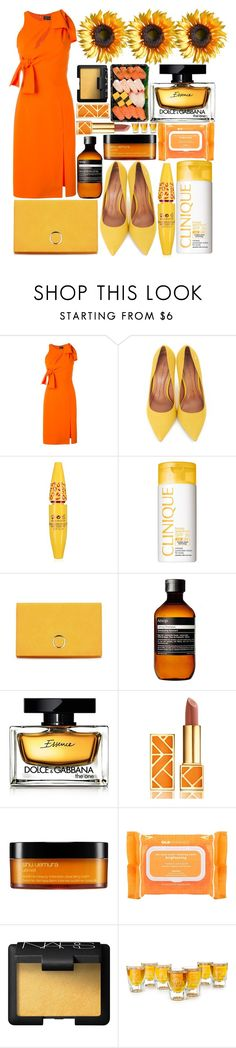 """""""Orange & Yellow"""" by estefanifashion ❤ liked on Polyvore featuring Versace, Moda In Pelle, Clinique, Aesop, Dolce&Gabbana, Tory Burch, shu uemura, Ole Henriksen and NARS Cosmetics"""