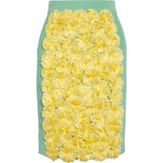 Sister by Sibling Floral-appliquéd knitted pencil skirt ($550) ❤ liked on Polyvore featuring skirts, bottoms, юбки, gonne, yellow, knee length, pull on skirt, yellow floral skirt, pull on pencil skirt and floral print skirt