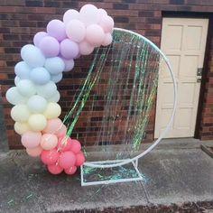 Balloon garland made with pastel colour balloons, unicorn theme, rainbow, iridescent. Rainbow First Birthday, Unicorn Birthday Parties, Birthday Balloons, Rainbow Party Decorations, Balloon Decorations, Pastel Balloons, Colourful Balloons, Baloon Garland, Rainbow Balloon Arch