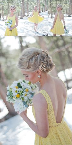 I love this yellow bridesmaid dress...and the little flowers in her hair updo