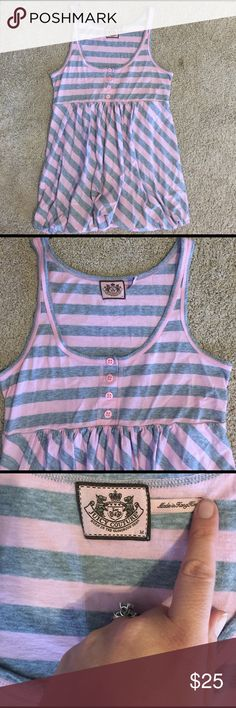 Juicy Couture Babydoll Tank Top Super cute Pink/Gray Striped Juicy Couture Babydoll Tank Top! In perfect condition no rips or stains! Only worn maybe 3 times! Juicy Couture Tops Tank Tops
