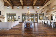 A fresh farmhouse designed with reclaimed timbers in Texas Hill Country Next Previous A fresh farmhouse designed with reclaimed timbers in…Modern Farmhouse Tour with Texas Forever Farmhouse —… Hill Country Homes, Country Farmhouse Decor, Home, Farmhouse Dining Room, Texas Farmhouse, Rustic House, House Design, Farmhouse Design, Country House Decor