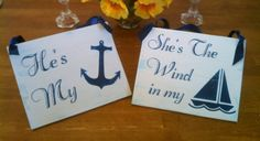 NAUTICAL Wedding Signs NAVY Blue Wedding Bride & Groom Beach Wedding Anchor and Sailboat MILITARY Wedding