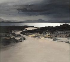 Chris Bushe(Scottish, Summer rain over Islay Evening Glow, Machrins Bay Glistening Sea, Drumadoon Point Oil on board Abstract Landscape Painting, Seascape Paintings, Landscape Art, Landscape Paintings, Am Meer, Monochrom, Art Graphique, Beautiful Paintings, Amazing Art