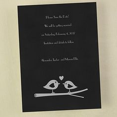 Two Love Birds - Save the Date. Available at Persnickety Invitation Studio.