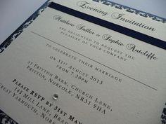 Navy Damask styled Wedding invitations