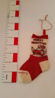 Vintage 6 in Christmas Stocking Santa Merry Christmas Baby Sock