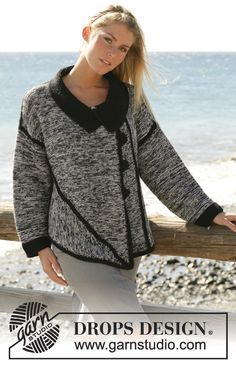 """DROPS large jacket knitted in several parts with 2 strands of """"Alpaca"""" ~ DROPS Design Knitting Patterns Free, Free Knitting, Free Pattern, Crochet Patterns, Drops Design, Crochet Cardigan, Knit Crochet, Jacket Pattern, Knit Jacket"""