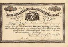 Maryland Theatre Company 15 shares à 150 $ 16.2.1874.