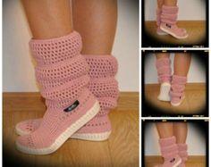 Zapatos del ganchillo Crochet Botas Botas de punto exterior para la calle hippie popular tribal Boho s Hechos a medida puños crochet patrón