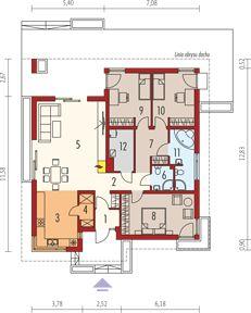 Bob - Rzut parteru Simple House Plans, Beautiful House Plans, Beautiful Homes, Bungalow House Design, Small House Design, Architecture Student, Planer, Floor Plans, How To Plan