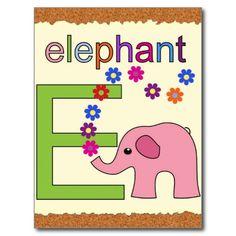 Elephant Letter E Post Cards #Alphabet #Elephant #Kids #Postcard