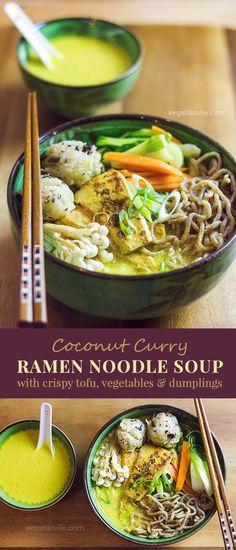 Coconut Curry Ramen Noodle Soup with Crispy Tofu – Video - https://youtu.be/N4OTNgoZwkQ - Vegan Recipe