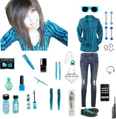 """blue emo clothes ;p"" by nasialove ❤ liked on Polyvore"