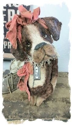 "One of a Kind Approx.  8"" to tip of ears (ears are posable) -  Antique Style hand tinted Dawg with wired ears, vintage trim ""collar"", vintage textile bows"