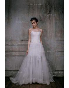 Meerjungfrau Romantische Ausgefallene Brautkleider aus Softnetz mit Schleppe