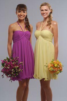 Halter chiffon dress with natural