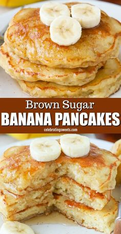 Moist, light, and fluffy Banana Pancakes sweetened with brown sugar and flavored with vanilla. The best Banana Pancakes EVER! #Banana #Pancakes