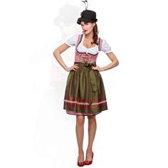 I probably need to get one of these.  I like the green of this one! Trachten Dirndl Shop: Stockerpoint Mididirndl 2tlg. Ira rot 60 cm Karo