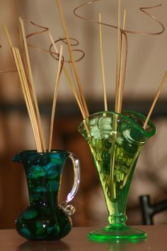 Homemade reed diffusers for our house. Why not? Vaseline glass & 1920's blown glass made perfect uniques homes for the reeds and oil. If you already have glassware and pottery around the house this is way cheaper than purchasing new diffusers!