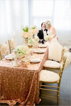 gold and white wedding ideas #weddingreception #brideandgroom #weddingchicks http://www.weddingchicks.com/2014/02/19/glamorous-rose-gold-wedding/