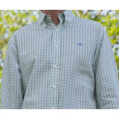 Lindley Tattersall Dress Shirt in Navy and Kelly Green with Blue Duck by Southern Marsh