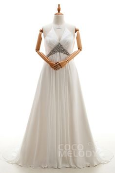 Timeless A-Line Halter Natural Court Train Chiffon Ivory Sleeveless Lace Up-Corset Plus Size Wedding Dress Crystal Jacket-Bolero CWLT16011 #weddingdresses #cocomelody #plussizeweddingdresses