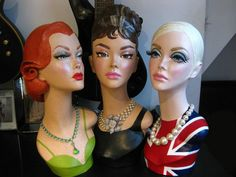 Pinup Burlesque Mannequin Head Jewelry Hat Display - Make per order. £185.00, via Etsy.