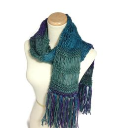 Knit Scarf, Multicolor Scarf, Hand Knit Scarf, Winter Scarf, Green Purple Scarf, Turquoise, Women, Fashion Scarf, Fiber Art, Valentines Day