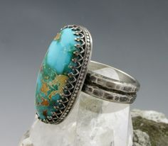 Royston Turquoise Ring  Large sterling silver by AmityJewelry, $245.00