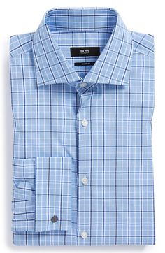 BOSS HUGO BOSS 'Malvin' Sharp Fit Plaid French Cuff Dress Shirt. Modern plaid adds some color to a clean-cut dress shirt fitted with a wide spread collar and rich French cuffs.