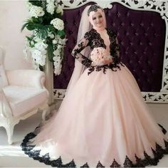 Cheap gown corset, Buy Quality gown supplier directly from China gown dresses for sale Suppliers: Traditional 2016 New Muslim Sleeve Back Applique Pink Tulle Ball Gown wedding dress bridal gown robe de mariage Vestido de noiva Hijab Wedding, Long Gown For Wedding, Muslim Wedding Dresses, Black Wedding Dresses, Princess Wedding Dresses, Bridal Wedding Dresses, Muslim Brides, Vintage Ball Gowns, Lace Ball Gowns