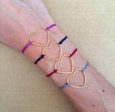Minimal Gold Plated Thin Heart Adjsustable by IzouBijoux on Etsy