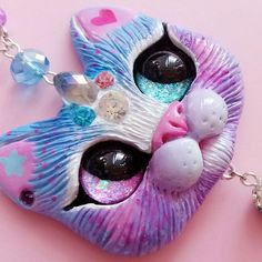 Experimental cat species - Pastel blue-pink-purple Crystal-corn kitty Inspired by many beautiful Lolita wigs and girls with lovely rainbow colored hair Would look amazing with sweet lolita outfit #catart #kawaii #catpendant #sweetlolita