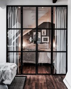 Ideas Glass Door Design Ideas Decor For 2019 French Doors Bedroom, French Door Curtains, Bedroom Windows, Bedroom Doors, Bedroom Curtains, Black Curtains, Glass Door Curtains, Black French Doors, French Doors With Screens
