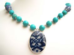 Pottery Shard Necklace, Turqusoise Necklace with Ming Pendant by polishedtwo, $28.00