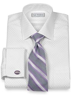 Non-Iron 2-Ply 100% Cotton Check Spread Collar French Cuff Trim Fit Dress Shirt from Paul Fredrick